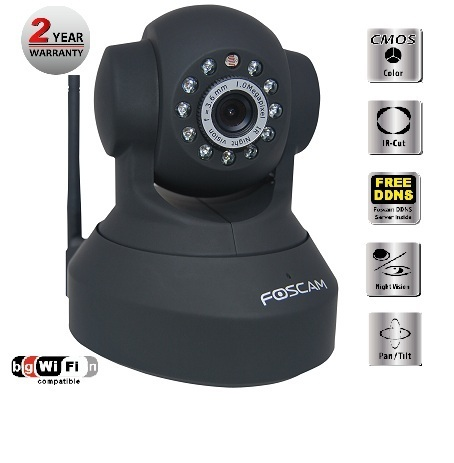 Foscam (FI8918W (Black) Wireless/Wired Pan & Tilt IP/Network Camera with 8 Meter Night Vision & 3.6mm Lens - Black
