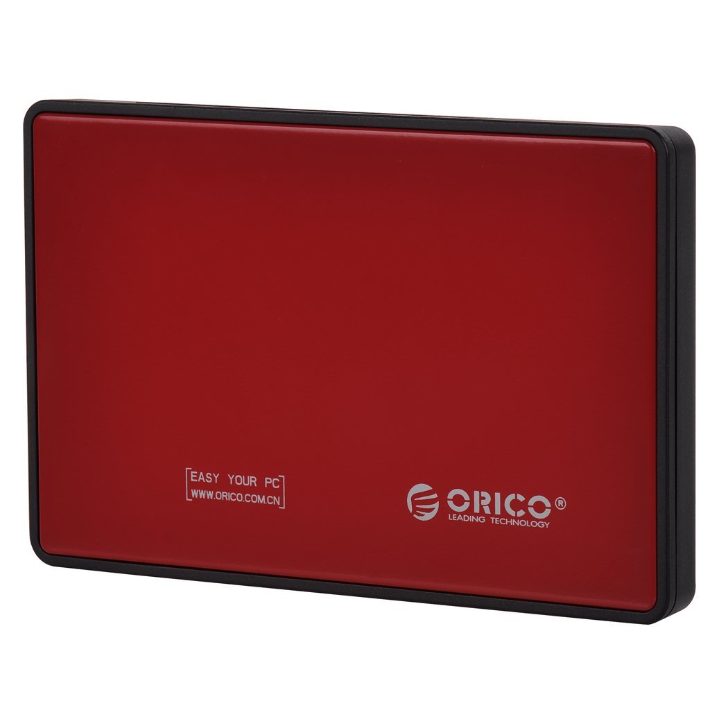 "Orico 2.5"" Tool-less Hard Drive Enclosure With USB3.0 Interface, Red"