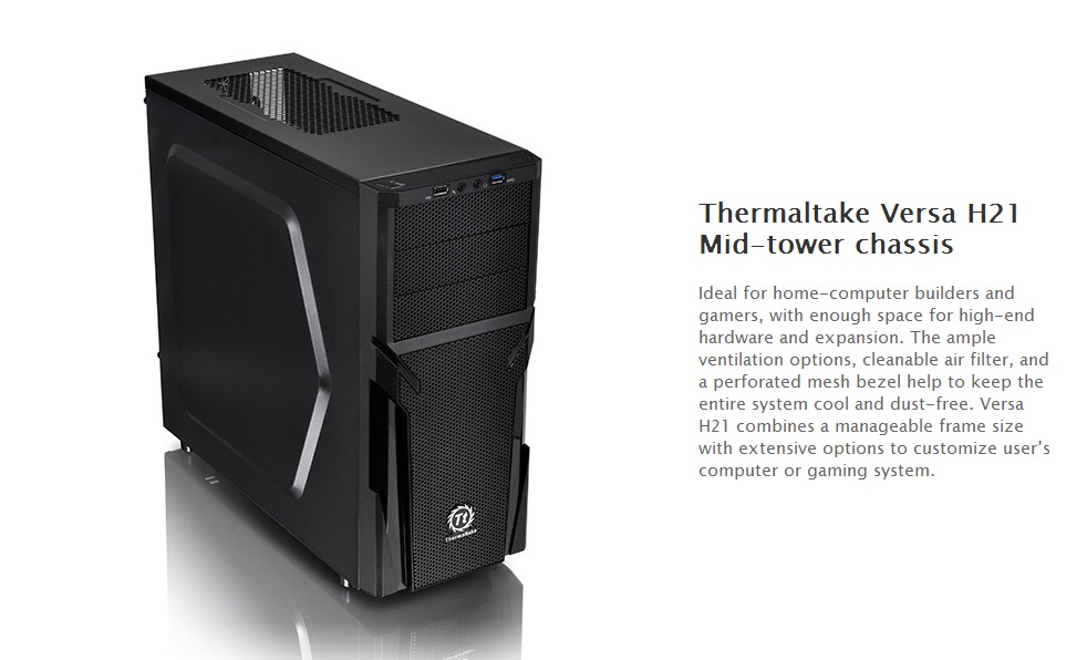 Thermaltake Versa H21 Mid Tower Case with 500W Power Supply (CA ...