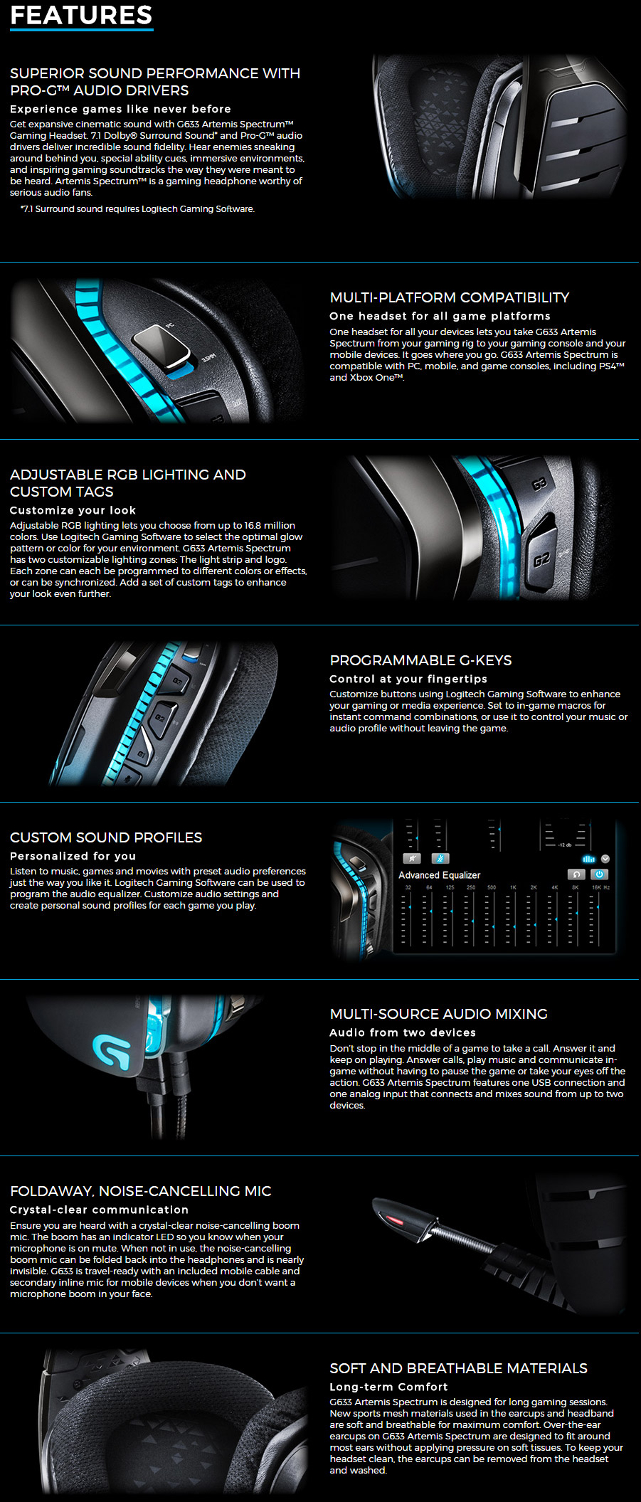 Logitech G633 Artemis Spectrum Rgb 7 1 Surround Gaming Headset Now 169 Deals And Coupons Best Bargains