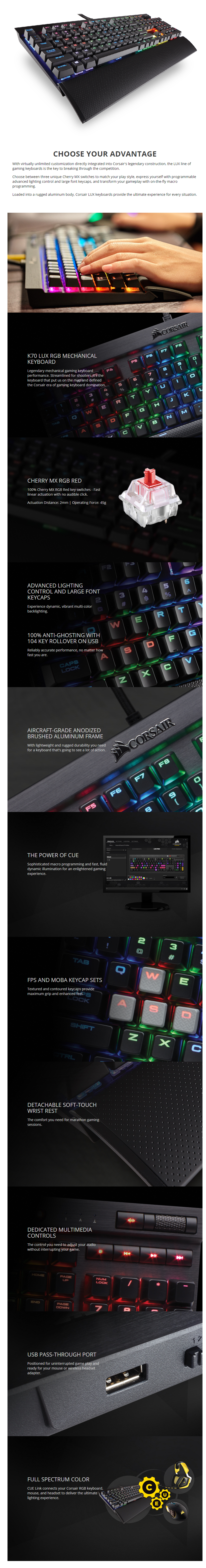 Corsair K70 Gaming Rgb Lux Cherry Mx Red Mechanical Keyboard Ch K65 Switch Manufacturer Specifications