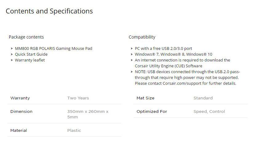 Corsair Mm800 Rgb Polaris Gaming Mouse Pad Ch 9440020 Ap