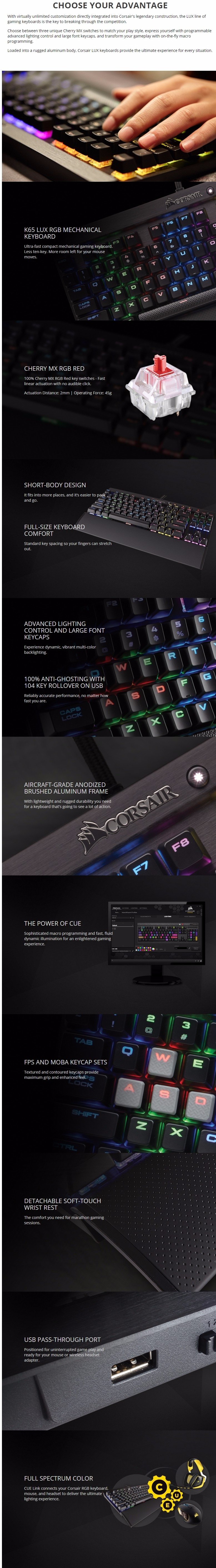 Corsair Gaming Compact K65 LUX RGB Cherry MX Mechanical Keyboard - Red