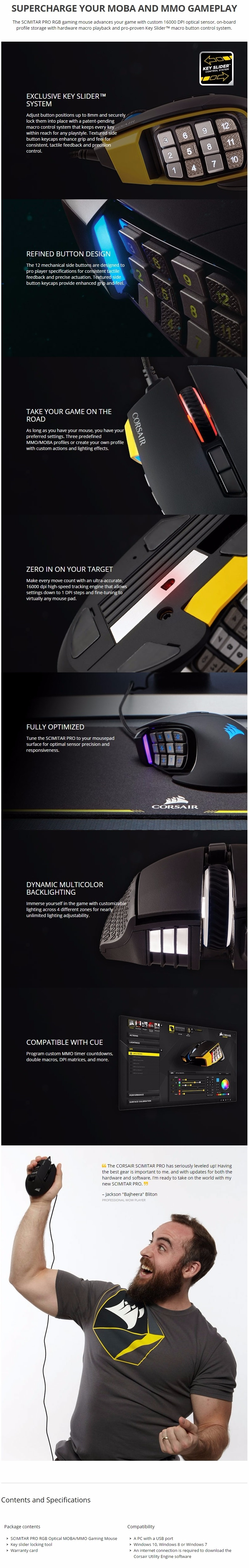 17d3ea0f9ff Corsair Scimitar Pro RGB Gaming Mouse - Yellow (CH-9304011-AP ...