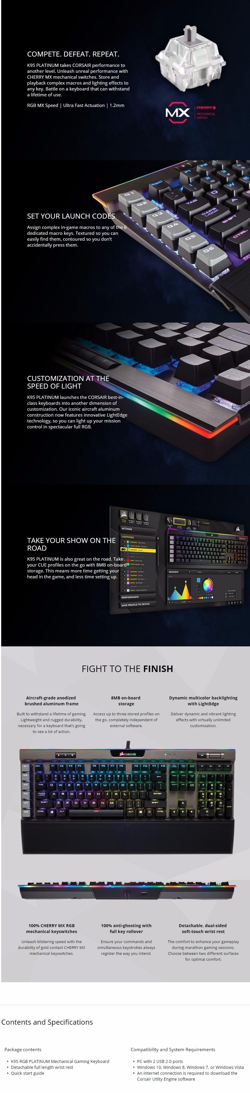 Corsair K95 RGB PLATINUM Mechanical Gaming Keyboard Gunmetal - MX Speed