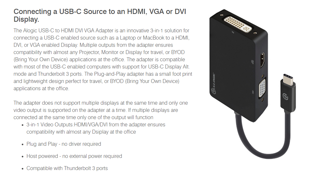 Alogic 3 In 1 Usb Type C To Hdmi Dvi Vga Adapter Ucvgdvhd