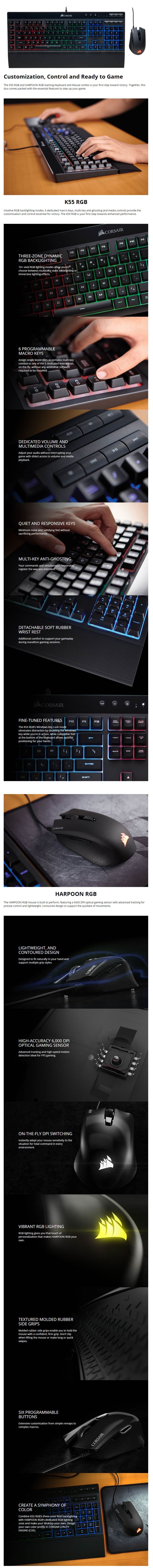 Corsair K55 + Harpoon RGB Keyboard and Mouse Gaming Combo