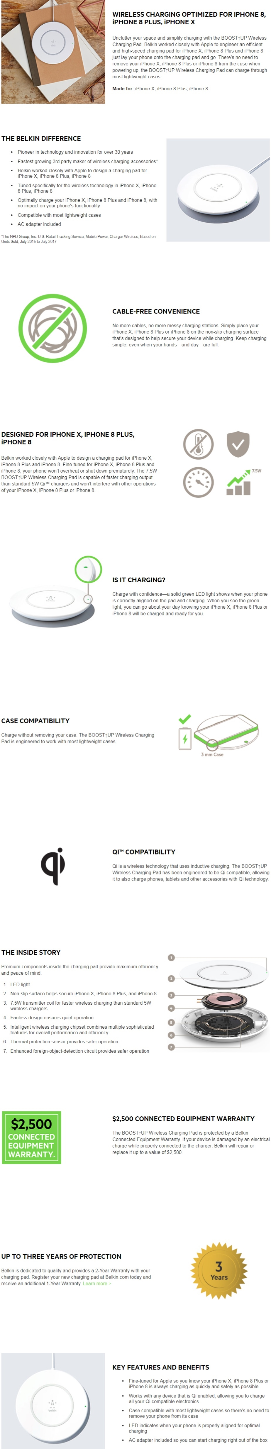 Belkin Boost Up Wireless Charging Pad For Iphone X 8 Plus 4 Charger Cord Wiring Diagram Manufacturer Specifications