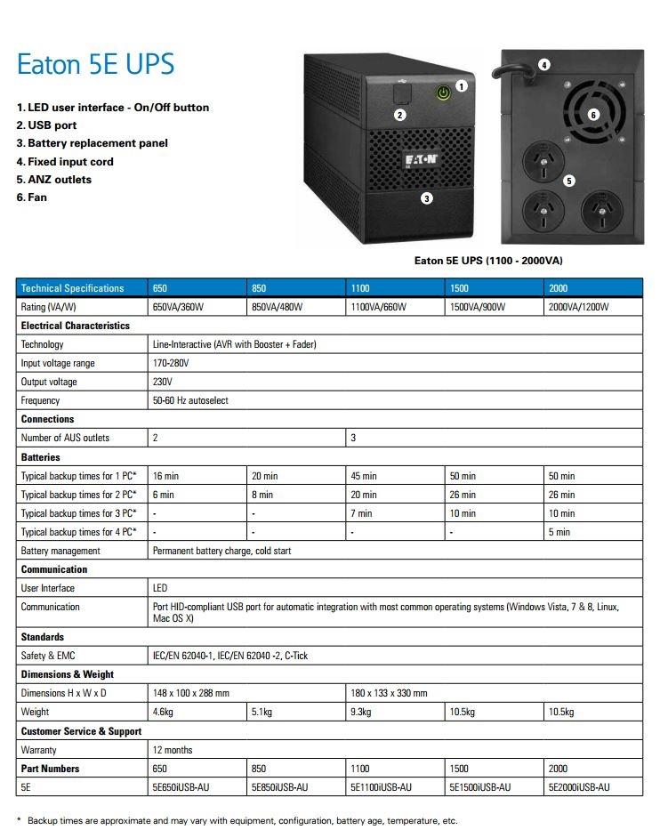 Eaton 5E UPS 1100VA / 660W 3 x ANZ Outlets