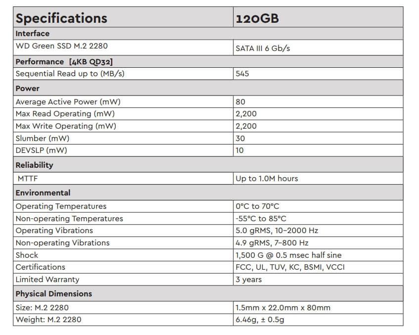Western Digital Green 120GB PC M 2 3D NAND SSD