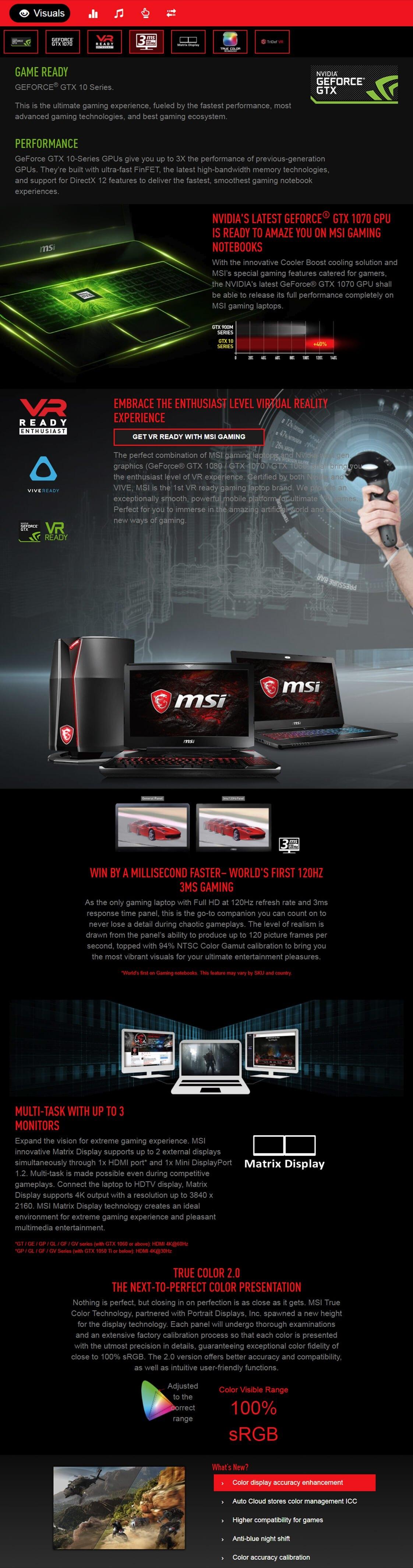 Msi Ge63 8rf 089au 156 Fhd Intel Core I7 Gaming Laptop Rgb 8750h 16gb 256gb 1tb Gtx1070 W10 Quick Specifications