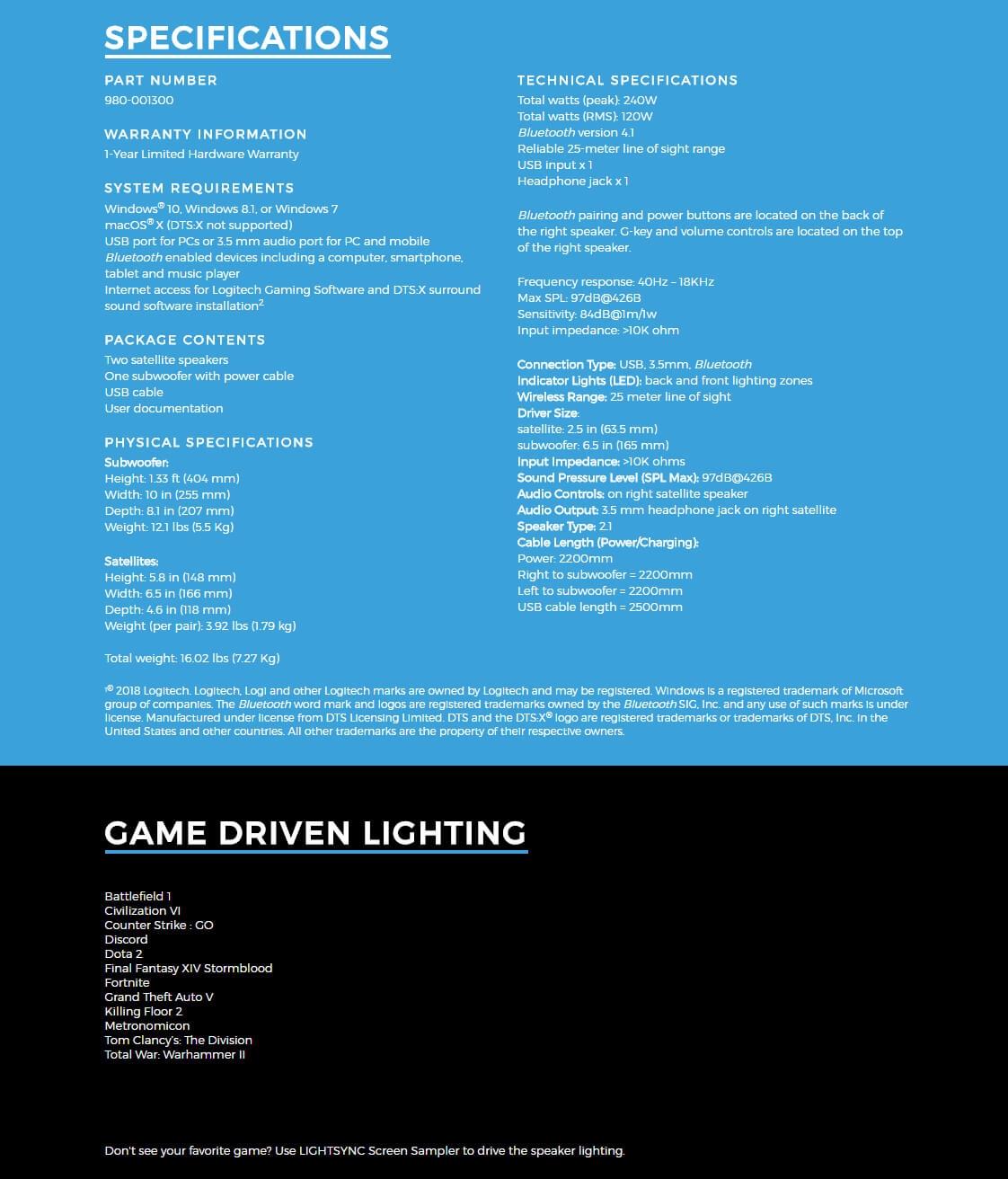 Logitech G560 Lightsync Pc Gaming 21 Speakers Black 980 001303 Speaker Manufacturer Specifications