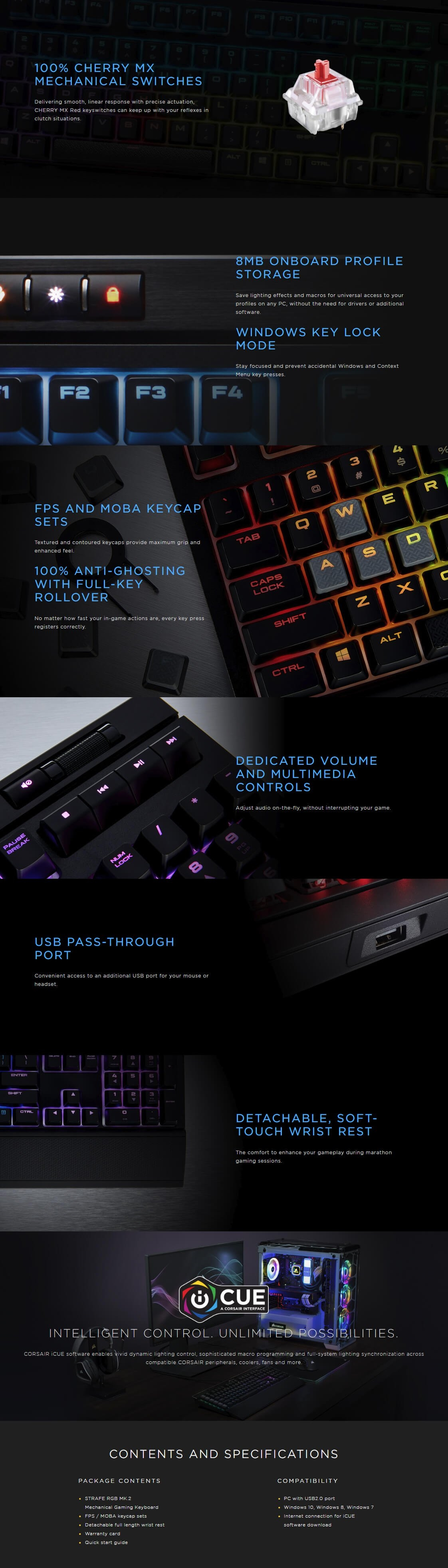 Corsair Gaming Strafe Rgb Mk2 Mechanical Keyboard Cherry Mx Brown Red Led Quick Specifications