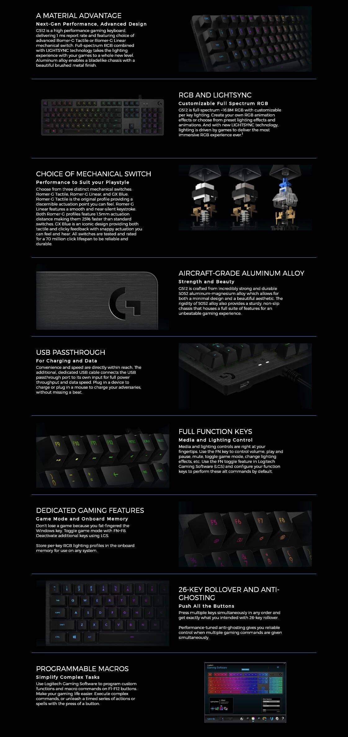 b0ccae0b012 Logitech G512 RGB Mechanical Gaming Keyboard - Linear (920-008762 ...