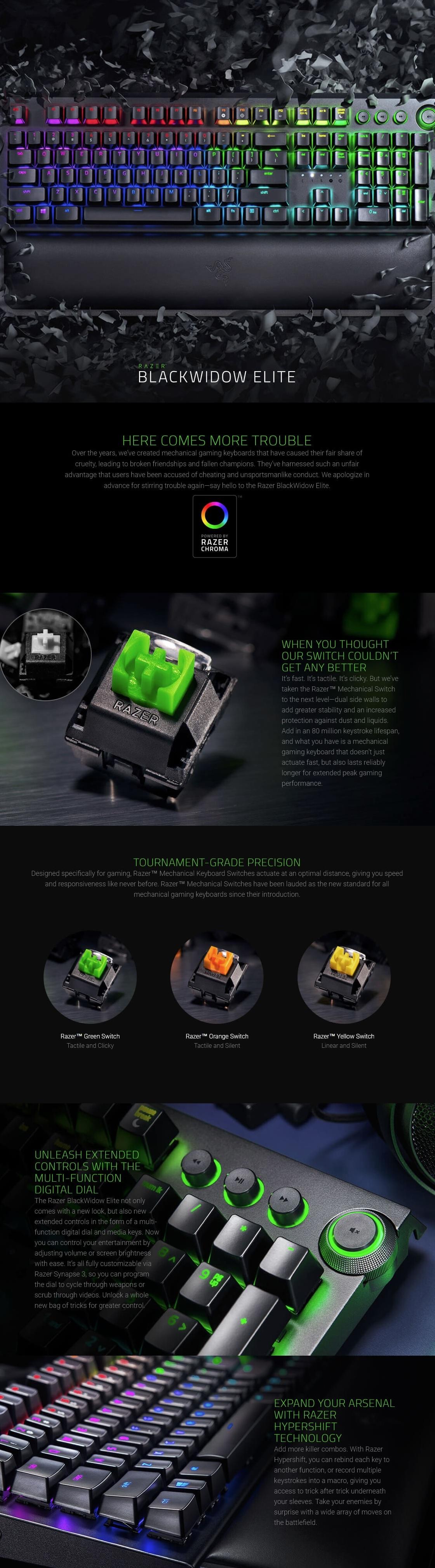 Razer Blackwidow Elite Mechanical Gaming Keyboard Green Switch