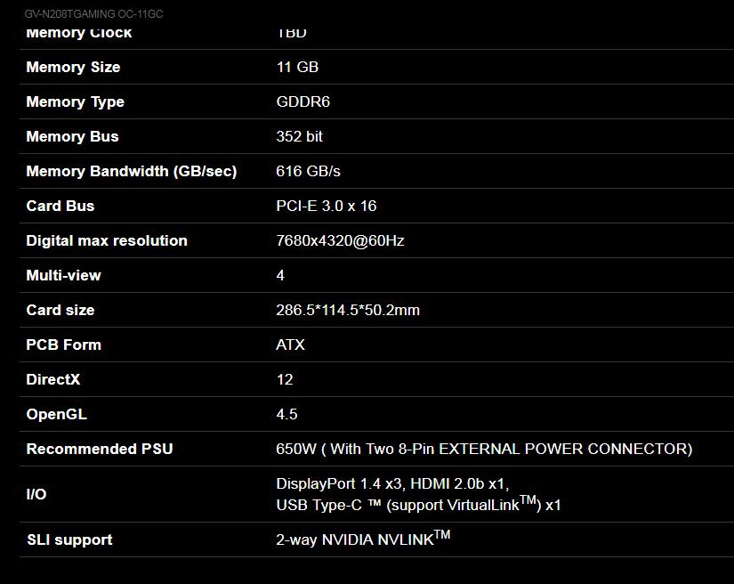 Gigabyte GeForce RTX 2080 Ti OC 11GB Graphics Card