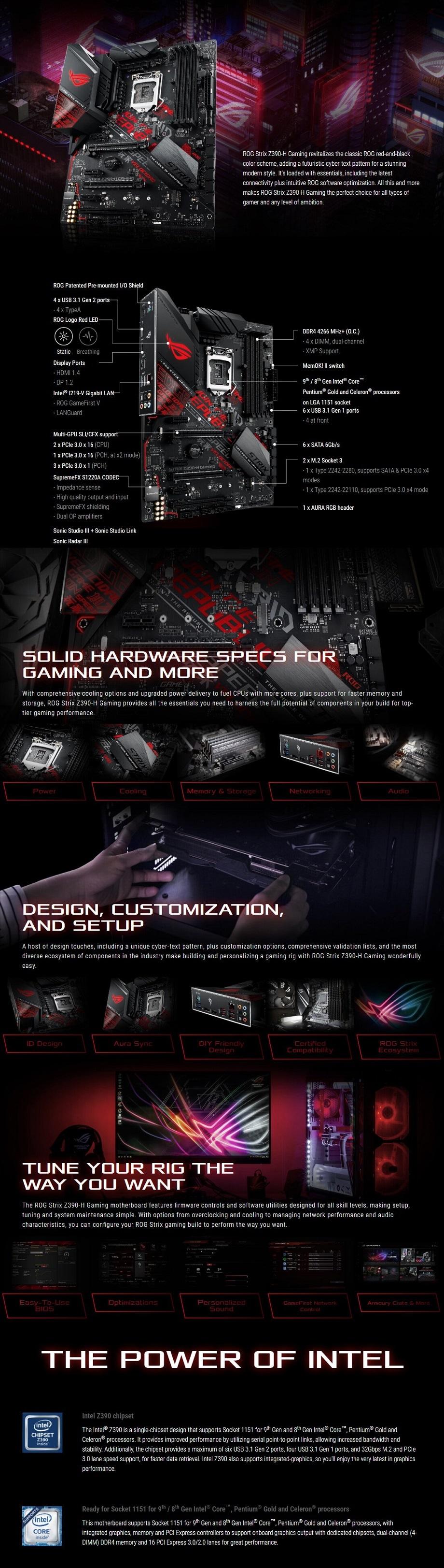 ASUS ROG Strix Z390-H Intel 8th/9th Gen Gaming Motherboard