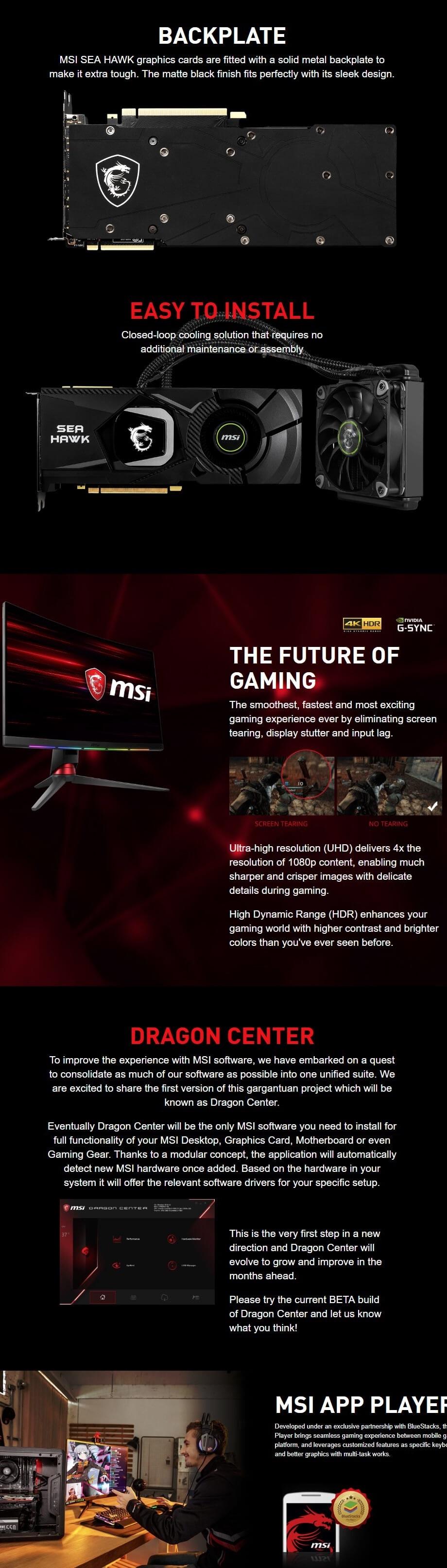 MSI GeForce RTX 2080 Sea Hawk X 8GB Grpahics Card