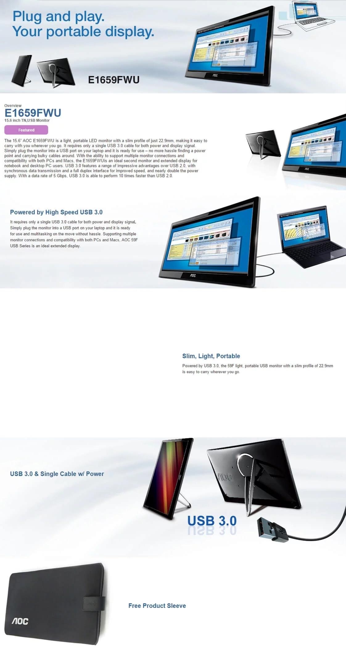 AOC E1659FWU 15 6'' HD USB3 0 LED Monitor