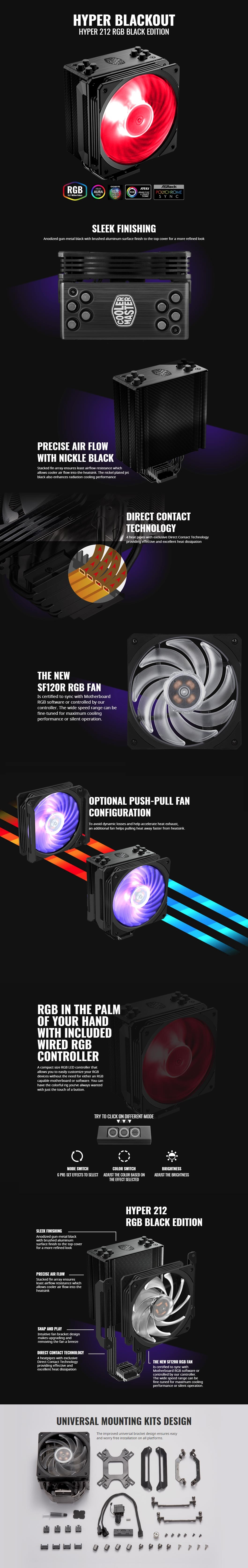 Cooler Master Hyper 212 RGB Black Edition CPU Air Cooler, 4 Direct Contact  Heatpipes, 120mm RGB Fan