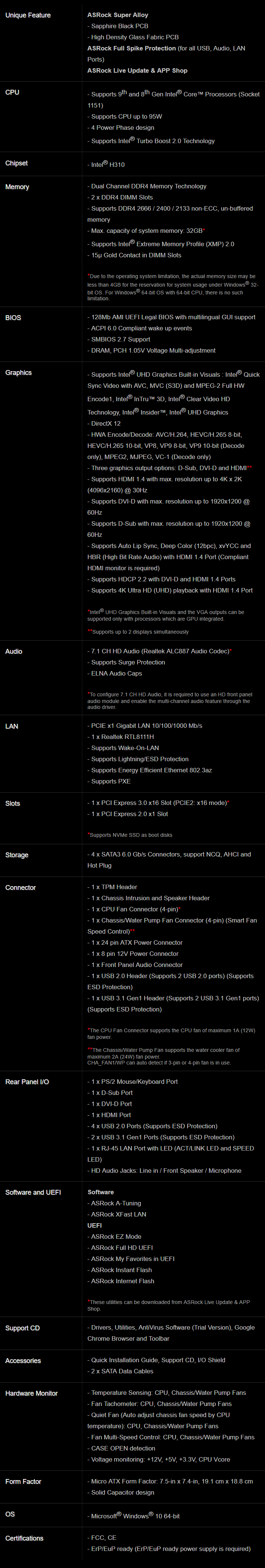 ASRock H310M-HDV LGA1151 mATX Motherboard