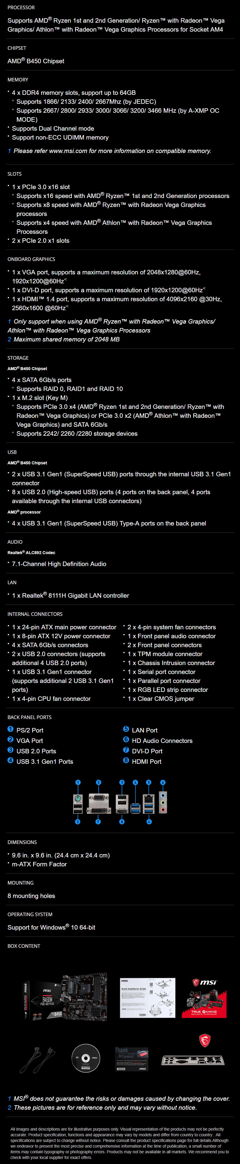 MSI B450M PRO-VDH Plus AM4 Motherboard