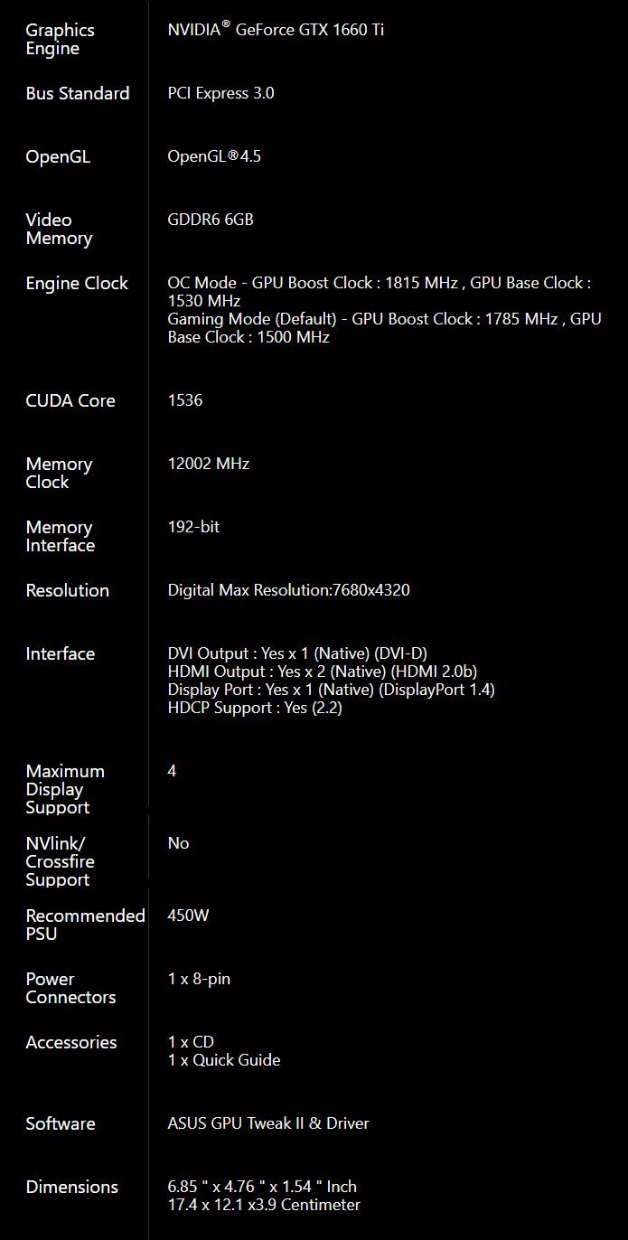 ASUS Phoenix GeForce GTX 1660 Ti OC Edition Graphics Card