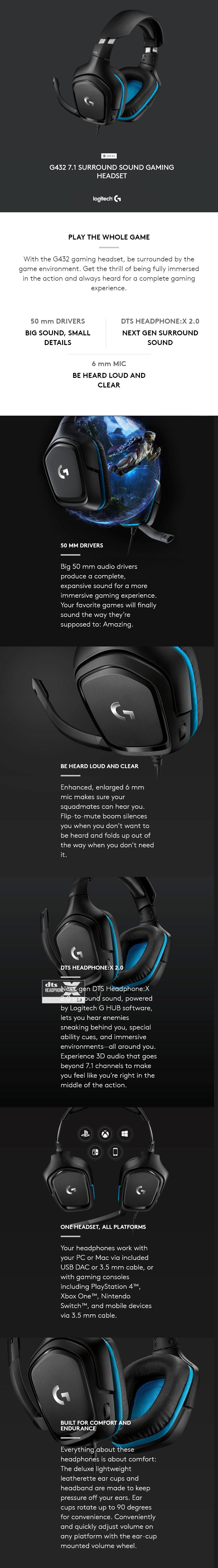 Logitech G432 7 1 Surround Sound Wired Gaming Headset