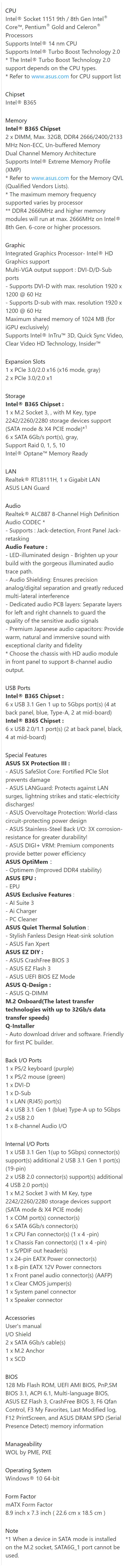 Asus PRIME-B365M-K Intel mATX Motherboard