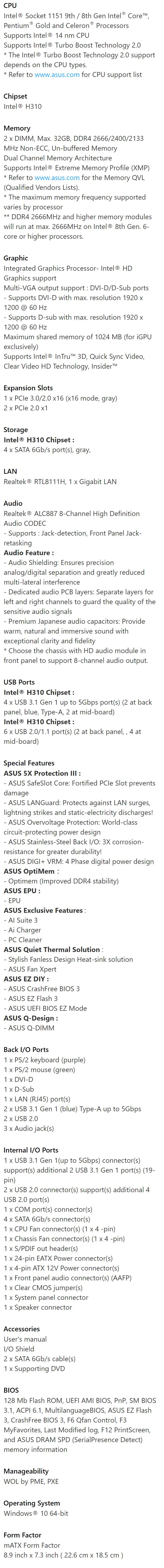Asus PRIME H310M-K R2 0 Intel mATX Motherboard