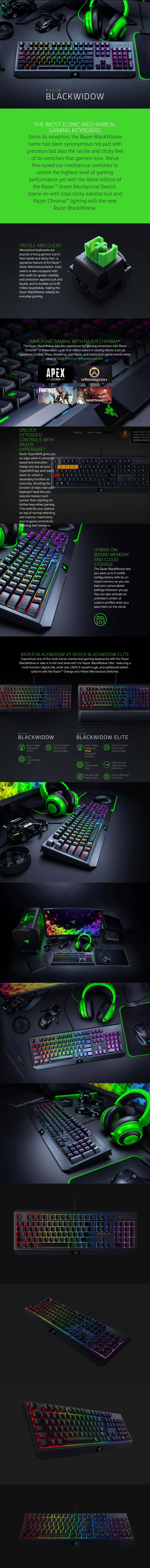 Razer Blackwidow Chroma Mechanical Gaming Keyboard - Green Switch