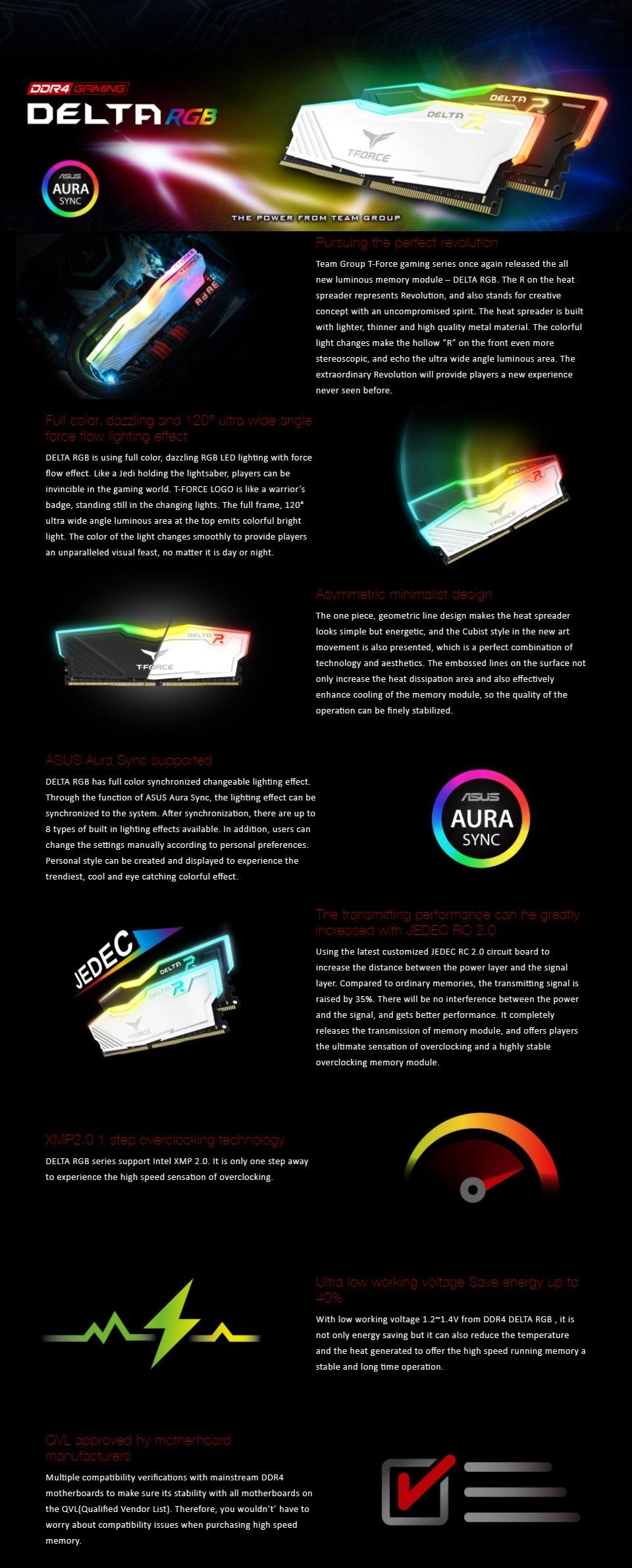 Team T-Force Delta RGB 16GB 2X8) DDR4 3000MHz RAM