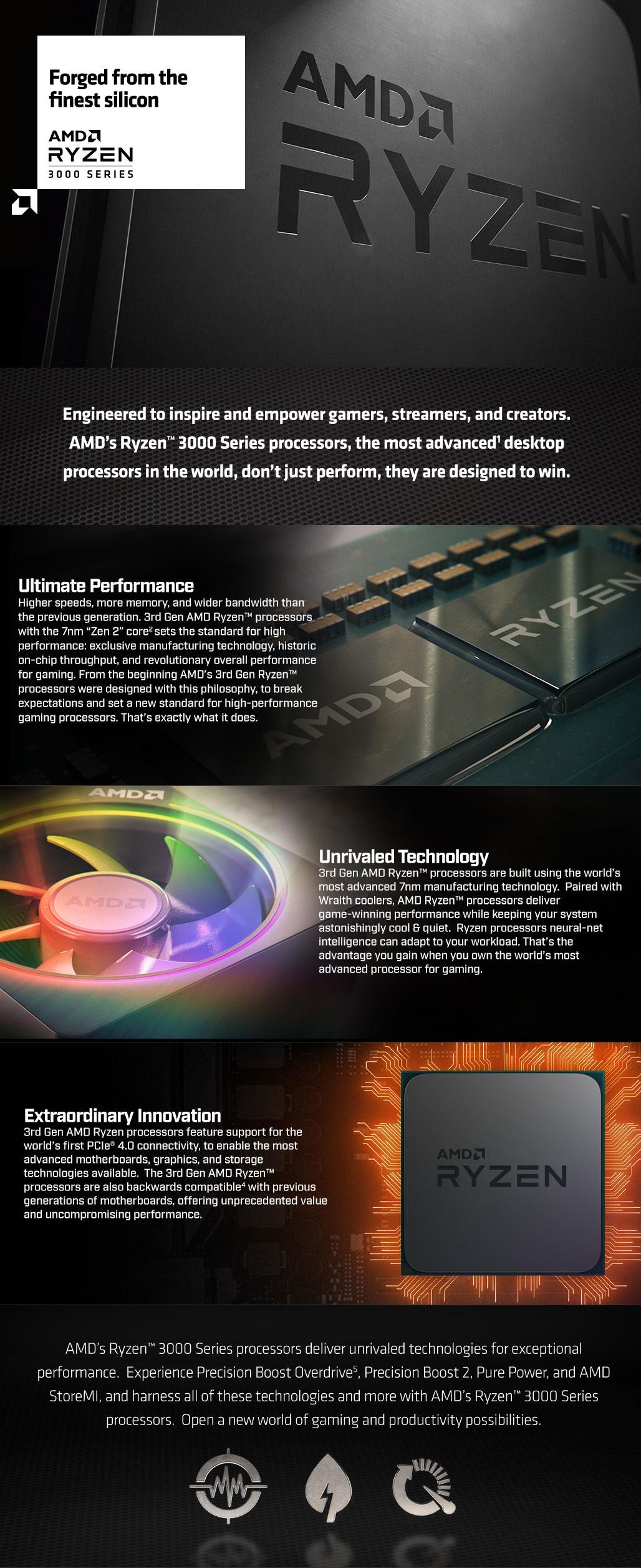 AMD RYZEN APU R3 3200G, 4C 4T, 4MB CACHE, VEGA 8 GPU, 65W TPD