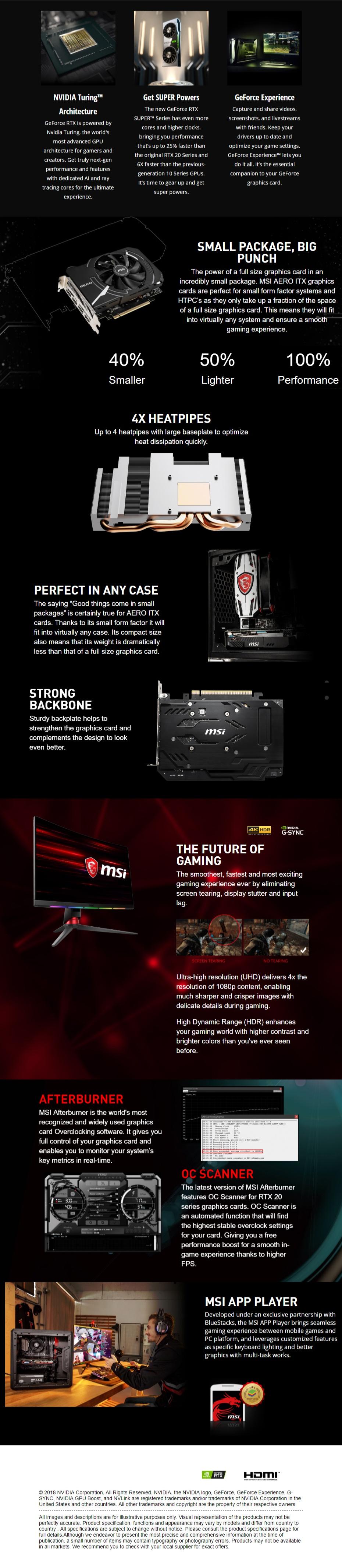 MSI GeForce RTX 2060 Super Aero ITX 8G Graphic Card