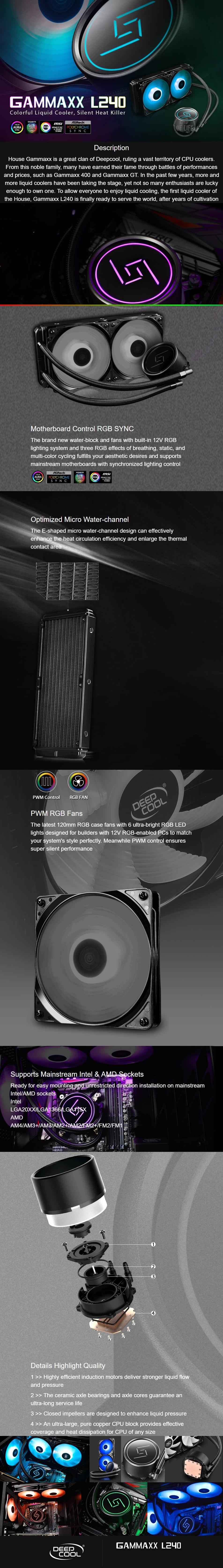 Deepcool Gammaxx L240 Super Silent PWM RGB LED AIO Liquid Cooler
