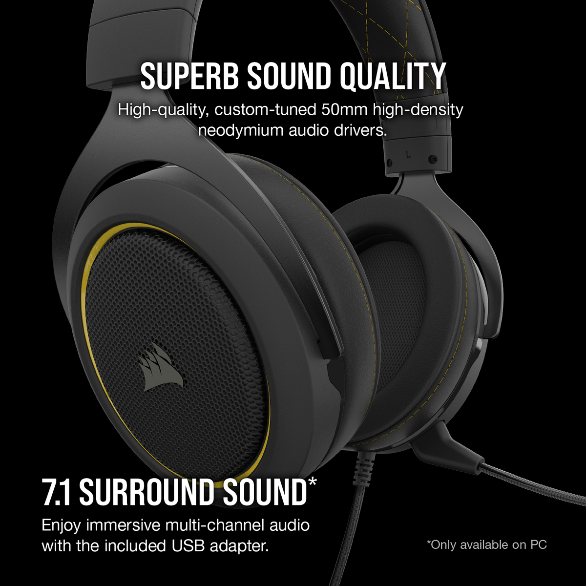 Corsair HS60 PRO Gaming Headset with 7.1 Surround Sound - Yellow  (CA-9011214-AP)   Centre Com : Best PC Hardware Prices!
