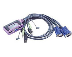 Aten Petite 2 Port USB KVM Switch with Audio - Cables Built In