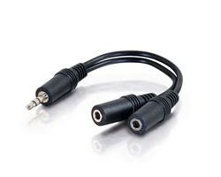 One 3.5mm Stereo Male to Two 3.5mm Stereo Female Y-Cable - 15 cm
