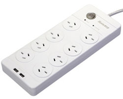 Huntkey 8 Outlet Surge Protected Powerboard with Dual 5V 2.1A USB Ports