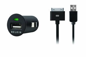 Micro USB Car Charger with USB to iPod cable