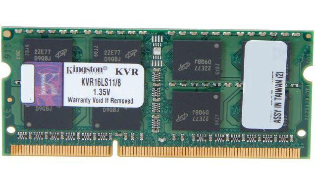 Kingston 8GB (1x8GB), PC-12800 (1600MHz) DDR3 SODIMM, ValueRAM, CL11, 1.35V, Single Stick (KVR16LS11/8)