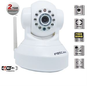 Foscam (FI8918W (White) Wireless/Wired Pan & Tilt IP/Network Camera with 8 Meter Night Vision & 3.6mm Lens - White