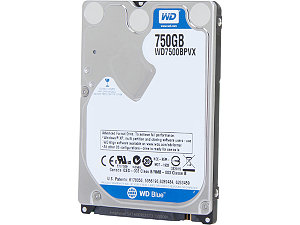"Western Digital 750GB Blue 2.5"" Notebook Hard Drive WD7500BPVX"