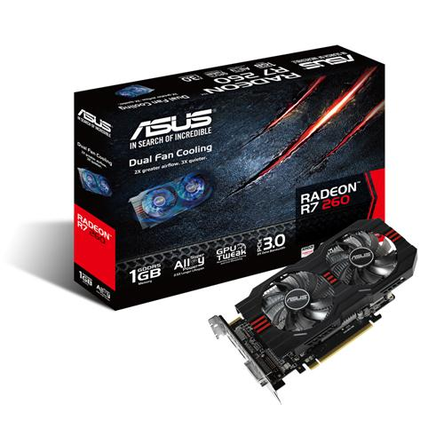 ASUS AMD R7260 - 1GD5 1000MHZ/6000MHZ 128-BIT DL-DVI/HDMI/DP/PCI Express 3.0