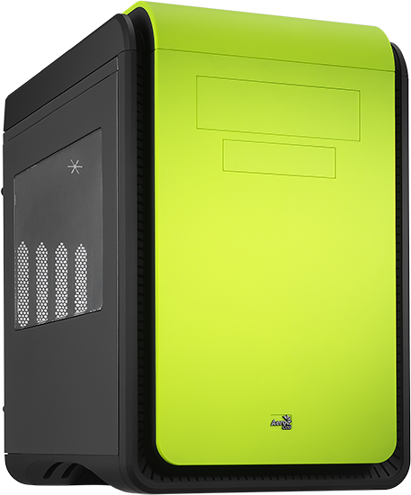 Aerocool Deep Silence Cube Windowed Green Mini ATX Case