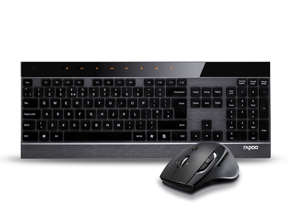 Rapoo 8900P 5G Anti-Interferance Wireless Transmission Laser Keyboard & Mouse Combo Black