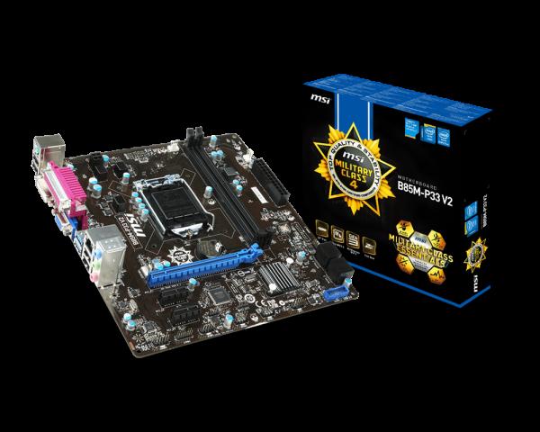 MSI B85M-P33-V2 2xDDR3 VGA/DVI USB3 mATX Motherboard LGA1150