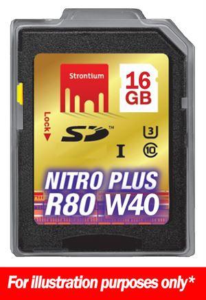 16GB Strontium Nitro Plus Series 80MB Read/40 MB Write SD Card