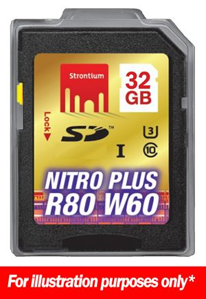 32GB Strontium Nitro Plus Series 80MB Read/40 MB Write SD Card