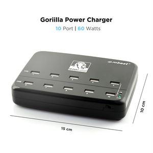 MBeat Gorilla Power 10-Port 60W USB Charging Hub MB-CHGR10U-BLK